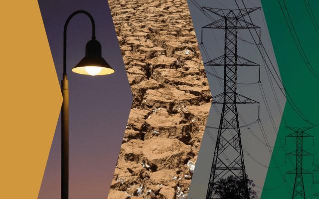 montagem de imagens relacionadas a energia: lâmpada acesa, solo compactado, e torres de transmissão de energia.