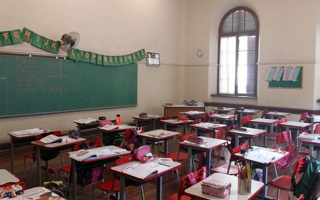 sala de aula vazia, com carteiras com material escolar e lousa verde, sobre a qual pendem cartazes com o alfabeto