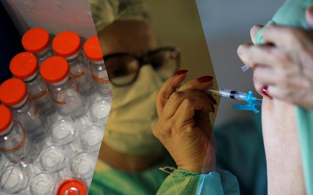Colagem de 3 imagens: ampolas com vacina, profissional de saúde, e braço recebendo vacina