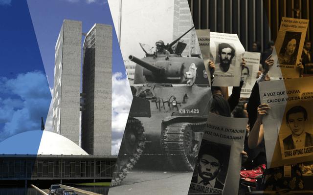 montagem de 3 imagens. da esquerda para a direita: fachada do congresso nacional, foto em preto e branco de tanque militar, pessoas segurando cartazes com fotos de pessoas sob a frase 'a voz que louva a ditadura calou a voz da cidadania'