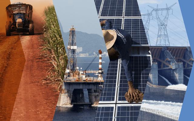 Da esquerda para a direita: trator em plantação de cana-de-açúcar,  plataforma do pré-sal,  placas de captação de energia solar, torre de transmissão de energia elétrica, portão da hidrelétrica de Itaipu