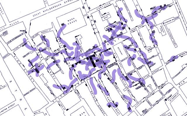 mapa de cidade com faixas roxas que indicam regiões com maior incidência de doença