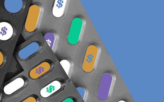 Ilustração de blisters de comprimidos, onde alguns estão marcados com cifrões coloridos