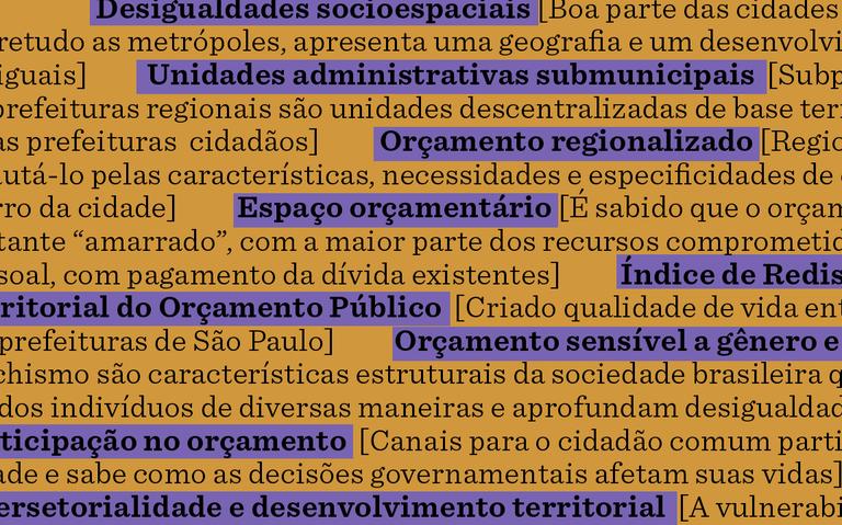Sobre fundo amarelo escuro, termos e definições presentes no glossário. Os verbetes estão destacados em roxo e em negrito.