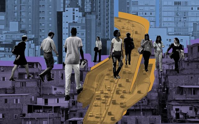 recortes de pessoas caminhando sobre colagem de partes da cidade