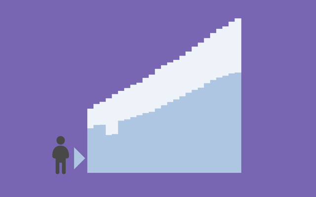 Pictograma representando uma pessoa ao lado de um gráfico de barras sobre o fundo roxo