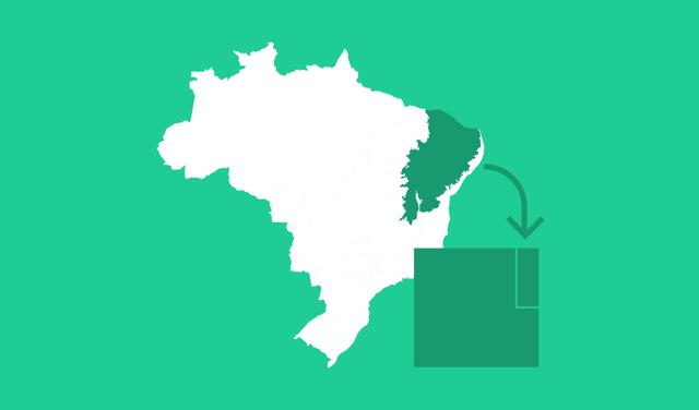 Mapa do brasil com destaque para a Caatinga