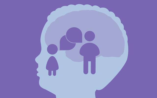 Ilustração em tons de roxo com a silhueta da cabeça de uma criança e seu cérebro