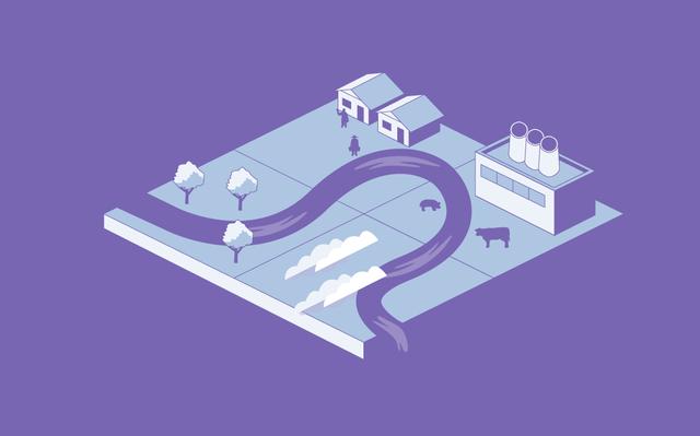 Ilustração isométrica em tons de roxo com um rio passando por árvores, casas, indústrias e pastos.