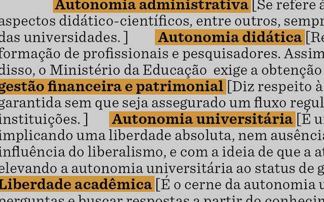 sobre fundo amarelo e branco, verbetes relacionados ao tema da autonomia universitária
