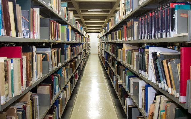 corredor vazio entre duas estantes de biblioteca