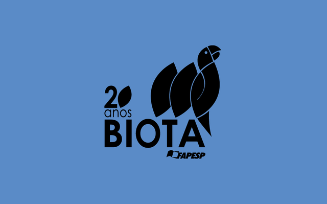 Logo do BIOTA sobre fundo azul.