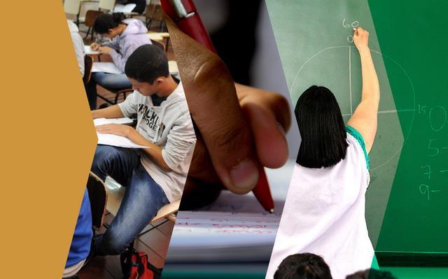 imagens recortadas: adolescente sentado à carteira escolar, zoom de lápis em folha, professora de costas escrevendo em lousa verde