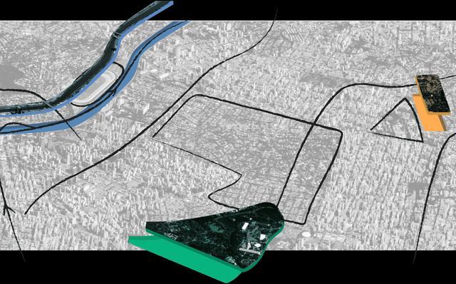 Ilustração do ambiente urbano. Sobre um fundo cinza, há traços, formas geométricas e figuras em azul, laranja e verde.