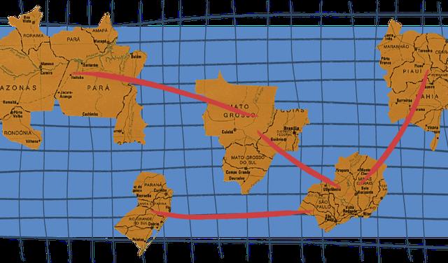 Mapa ilustrado que mostra diferentes pedaços do Brasil em posições diferentes no mundo, como se fossem continentes separados. Há linhas vermelhas que ligam esses continentes inventados.