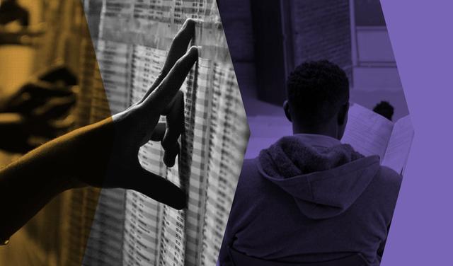 Montagem mostra recortes de duas fotos, lado a lado: a primeira foto mostra a mão de uma pessoa sobre um papel na parede (uma lista que parece indicar os aprovados em um vestibular) e a segunda mostra um homem, negro, de moletom e de costas, em uma sala de aula. Há filtros nas cores roxa e laranja e outro em preto-e-branco sobre as fotos.