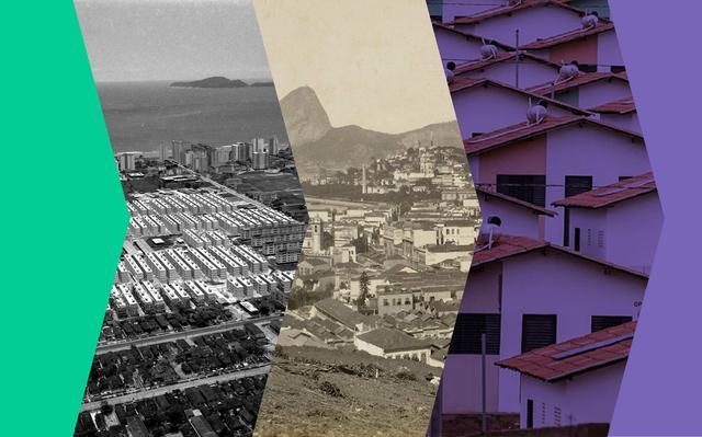 Montagem de fotos de paisagens de casas em diferentes épocas. Sobre as fotos há filtros em preto-e-branco, sépia e roxo.