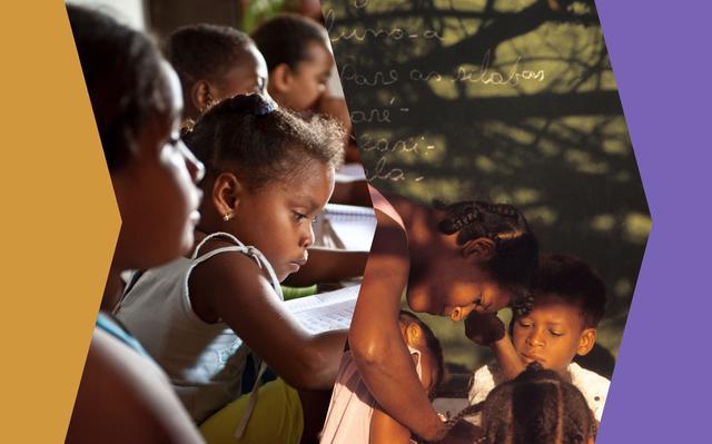 Montagem com duas fotos mostra crianças negras realizando atividades escolares. Em torno delas há blocos nas cores roxo e laranja.