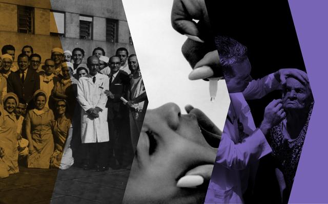 Montagem com fotos em preto-e-branco de médicos e enfermeiros, da aplicação de vacina em gotas em um menino e de um médico examinando o rosto de uma senhora idosa. Sobre parte das fotos há filtros laranja e roxo.