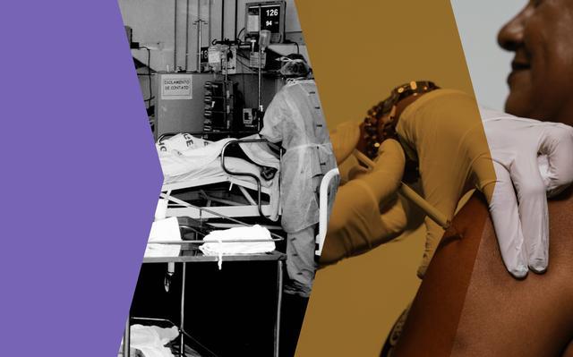 recorte de duas imagens: profissional de saúde junto a leito hospitalar e mulher tomando vacina