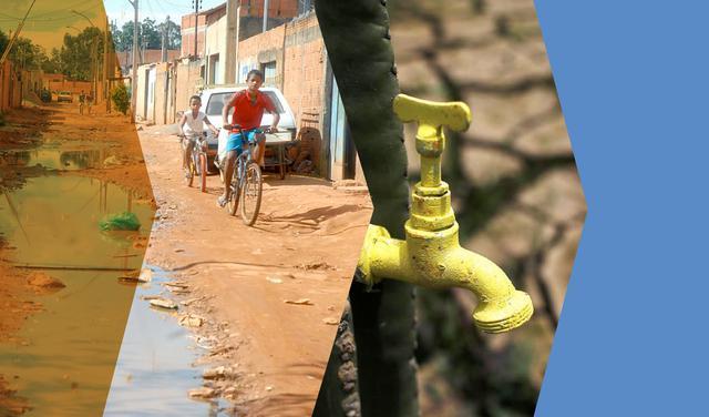 montagem de 2 imagens: meninos andando de bicicleta em rua de terra ao lado de poça d'água e torneira amarela