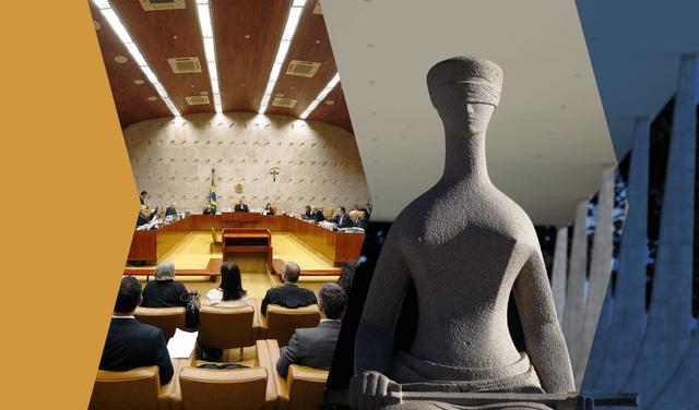 montagem de duas imagens: à esquerda a sala de sessões do stf, e à direita a estátua da justiça localizada em frente ao prédio do tribunal