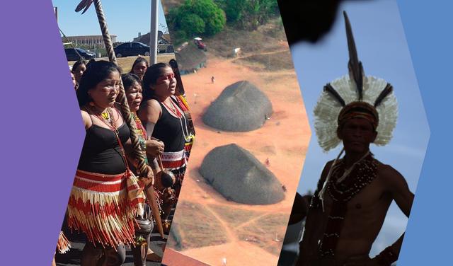 Montagem com recortes de três fotografias. A primeira, à esquerda, mostra mulheres indígenas, a segunda mostra casas indígenas vistas do alto e a terceira mostra um homem indígena que, sob a sombra, encara a câmera. Há molduras azul e roxa ao lado das fotos.