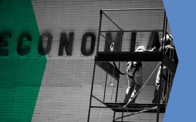 Montagem mostra foto em preto-e-branco de operários trabalhando na fachada do Ministério da Economia. Nas bordas da foto, há dois filtros nas cores azul e verde.