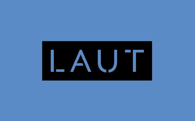 Logo do LAUT sobre fundo azul.