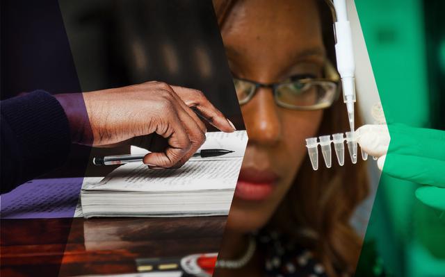 Montagem com recortes de duas fotos. A primeira, à esquerda, mostra a mão de uma pessoa negra sobre um caderno. A segunda, à direita, mostra o rosto de uma mulher, também negra, trabalhando em um laboratório. Há um filtro roxo e outro verde sobre as fotos.