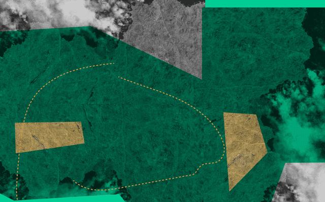Imagem aérea em recortes verdes e cinza.