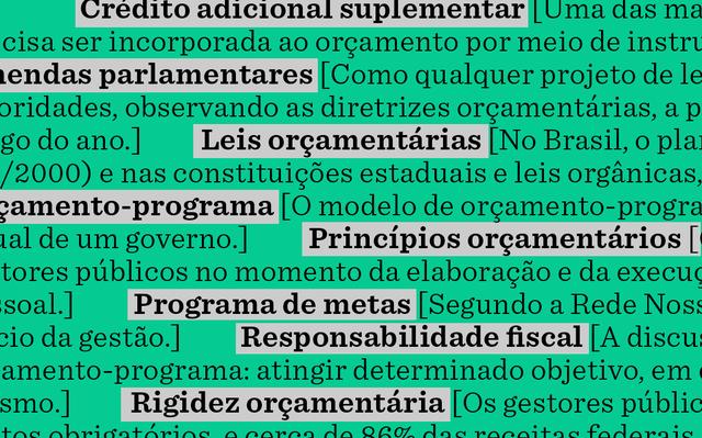 sobre fundo verde, verbetes do glossário 'orçamento publico'