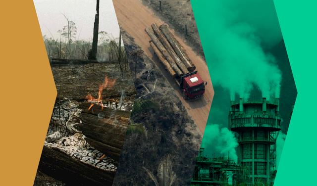 Montagem mostra três recortes de fotos de diferentes situações: queima em uma área desmatada, um caminhão transportando troncos em uma floresta e uma chaminé da qual sai muita fumaça. Há filtros verde e laranja sobre as fotos.