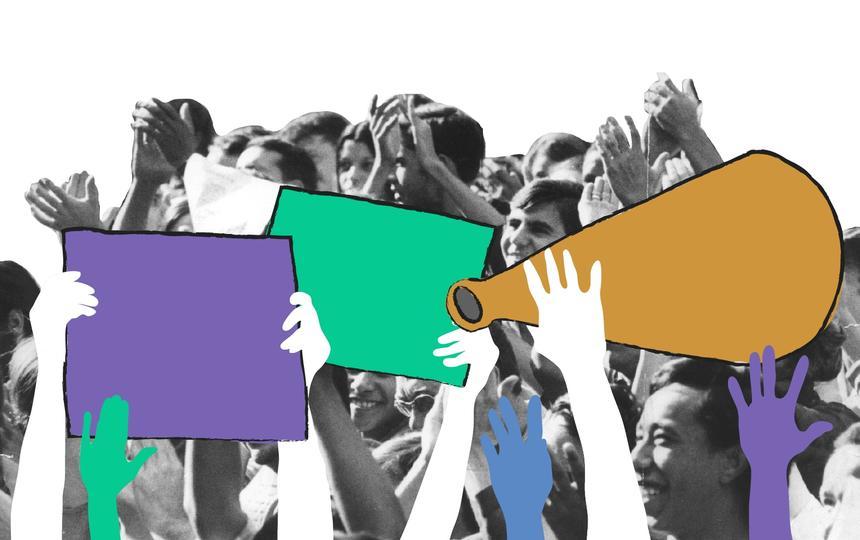 Montagem com foto em preto-e-branco de pessoas reunidas. Sobre a foto, há desenhos de mãos, cartazes e megafones.