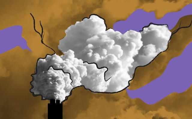 Imagem de fumaça branca saindo de uma chaminé de fábrica.
