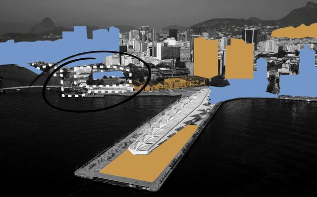 Montagem mostra foto em branco-e-preto do Porto Maravilha, no Rio de Janeiro. Por cima dela, há desenhos em azul e laranja das formas geométricas dos prédios da paisagem. Há o desenho de um círculo preto em volta de uma construção próxima ao porto.