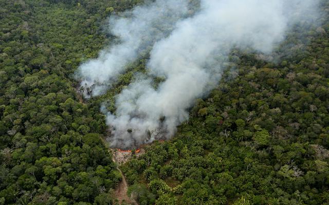 Visão aérea de queimada em região amazônica. No centro da imagem a visão é tomada por fumaça