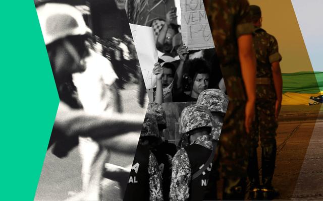 recortes de 3 imagens: tumulto, pessoas com cartazes encarando militares, fila de militares
