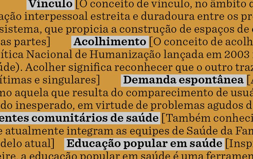 sobre fundo laranja, verbetes do glossário. os termos aparecem em fonte preta grifados em cinza claro. Suas definições em fonte preta sobre fundo, sem grifo.