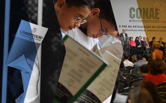 montagem de 3 imagens: à esquerda, constituição federal, ao centro, crianças lendo cartilha e à direita palco de evento do Conae