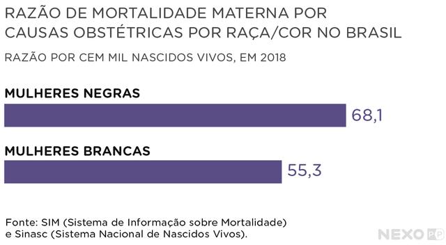 gráfico de barras horizontais mostra razão de mortalidade materna por raça e cor no Brasil