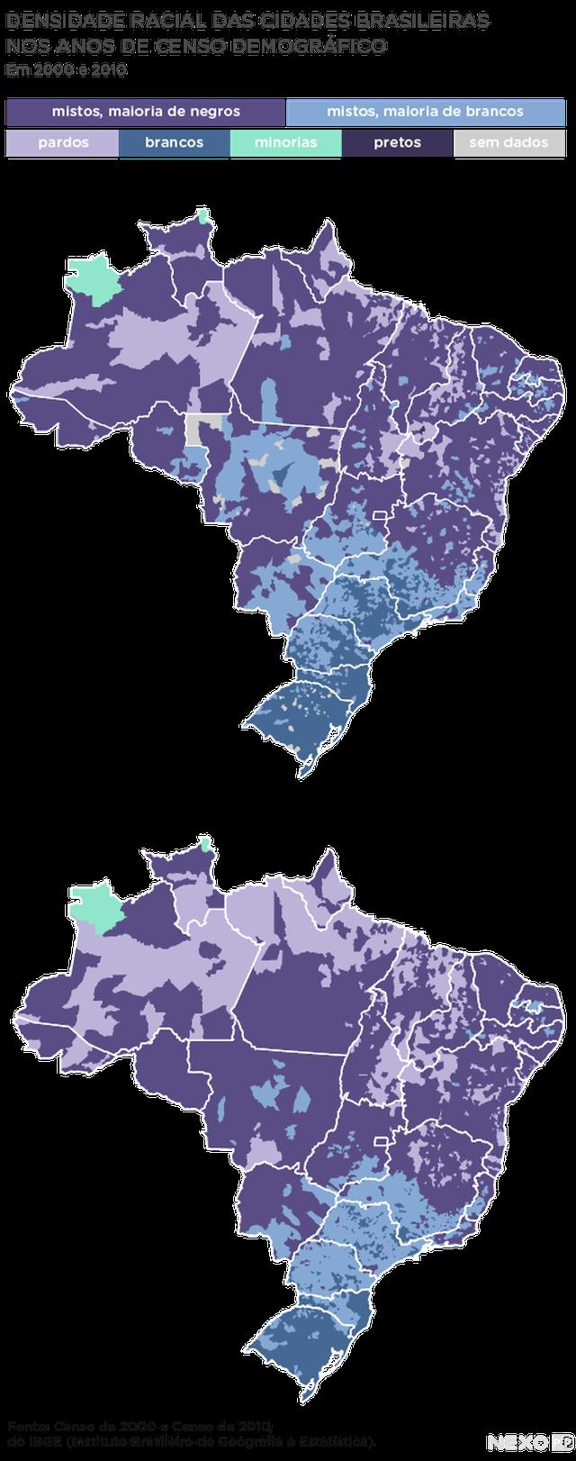 dois mapas do brasil (2000 e 2010) mostram densidade racial